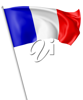 National flag of France with flagpole flying and waving in the wind isolated on white, 3d illustration