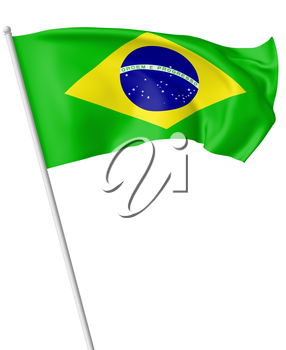 National flag of Federative Republic of Brazil on flagpole flying and waving in the wind isolated on white, 3d illustration