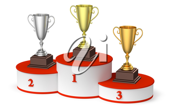 Sports winning, championship and competition success concept - golden, silver and bronze winners trophy cups on round sports pedestal, white winners podium with red stairs, diagpnal, 3d illustration