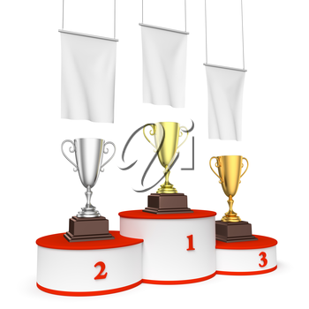 Sports winning, championship and competition success concept - three winners trophy cups on round sports pedestal, white winners podium with red stairs and blank white flags, 3d illustration, left