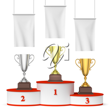 Sports winning, championship and competition success concept - three winners trophy cups on round sports pedestal, white winners podium with red stairs and blank white flags, 3d illustration, front vi