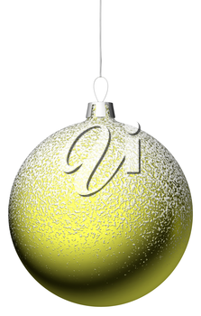 Yellow christmas ball hanging on the narrow silver ribbon isolated on while background