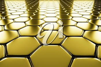 Golden hexagons flooring metal surface perspective view shiny abstract industrial background