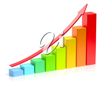 Abstract creative statistics, financial growth, business success and development concept: growing colorful bar chart with red up arrow on white background with reflection, 3d illustration