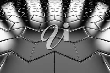 Steel arrow blocks flooring perspective view shiny abstract industrial background