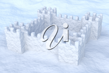 White toy show fort on the uneven snow surface under sun light 3d illustration