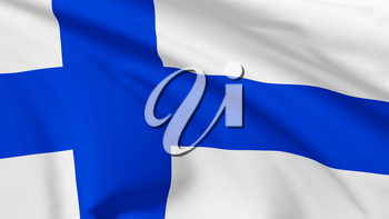 National flag of Republic of Finland flying in the wind, 3d illustration closeup view