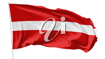 National flag of Republic of Latvia on flagpole flying in the wind isolated on white, 3d illustration