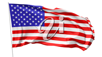 National flag of United States of America on flagpole flying in the wind isolated on white, 3d illustration