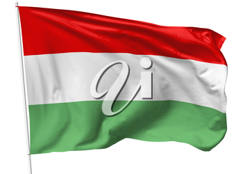 National flag of Hungary on flagpole flying in the wind isolated on white, 3d illustration
