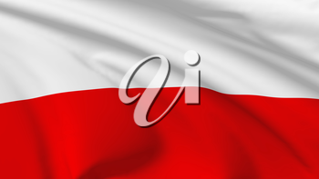 National flag of Republic of Poland flying in the wind, 3d illustration closeup view