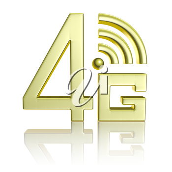 Mobile high speed data connection telecommunication concept: golden abstract 4G LTE wireless communication technology icon symbol with reflection isolated on white background