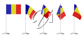 Small table flag of Romania on stand isolated on white, 3d illustrations set