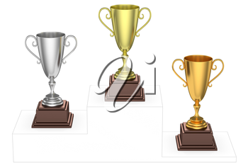 Sports winning and championship and competition success concept - golden, silver and bronze winners trophy cups isolated on the imaginary winners podium drawn by gray contour lines, 3d illustration, t