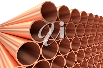 Heavy metallurgical industry production and non-ferrous industrial products creative abstract illustration: many stainless metal shiny copper pipes lying in rows diagonal view, 3D illustration