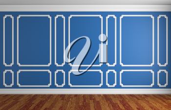 Simple classic style interior illustration - blue wall with white decorative frame on the wall in classic style empty room with dark wooden parquet floor with white baseboard, 3d illustration interior