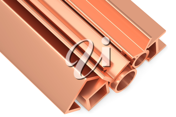 Metallurgical industry non-ferrous industrial products - group of stainless rolled copper metal products (pipes, profiles, girders, bars, balks and armature) on white industrial 3D illustration