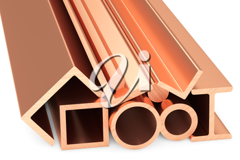 Metallurgical industry non-ferrous industrial products - group of stainless rolled copper metal products (pipes, girders, bars, profiles, balks and armature) on white industrial 3D illustration