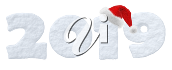 2019 sign text written with numbers made of snow with Santa Claus fluffy red hat, Happy New Year winter snow symbols 3d illustration isolated on white