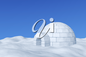 Winter north polar snowy landscape - eskimo house igloo icehouse made with white snow on the surface of snow field under cold north blue sky, 3d illustration.