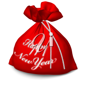 Santa Claus red bags with sign Happy New Year isolated on white background 3d illustration