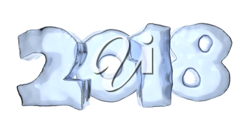 2018 Happy New Year sign text written with numbers made of ice, Happy New Year 2018 winter icy symbol 3d illustration isolated on white