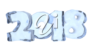 New Year 2018 sign text written with numbers made of clear blue ice, Happy New Year 2018 winter icy symbol 3d illustration isolated on white