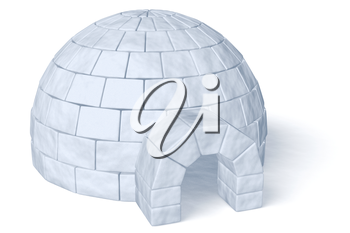 Igloo icehouse isolated on white diagonal view background three-dimensional illustration