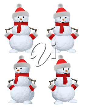 Collection of cheerful snowman with red fluffy hat, scarf and mittens 3d illustration set