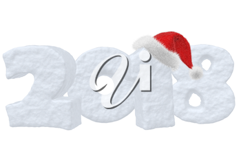 2018 sign text written with numbers made of snow with Santa Claus fluffy red hat, New Year 2018 winter snow symbol 3d illustration isolated on white