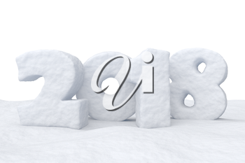 New Year 2018 sign text written with numbers made of snow on snow surface, Happy New Year 2018 winter snow symbol 3d illustration isolated on white