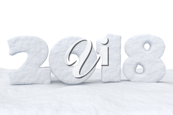 2018 New Year sign text written with numbers made of snow on snow surface, Happy New Year 2018 winter snow symbol 3d illustration isolated on white