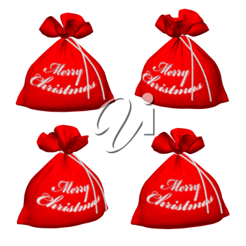 Set of Santa Claus red bags with sign Merry Christmas isolated on white background 3d illustration
