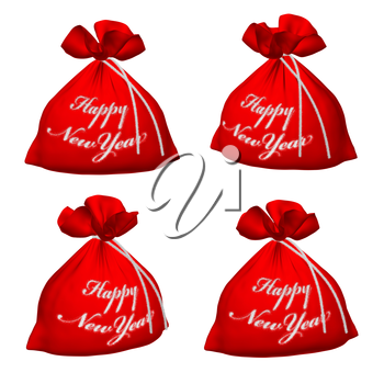 Set of Santa Claus red bags with sign Happy New Year isolated on white background 3d illustration