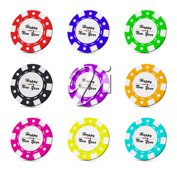 Happy New Year casino chips collection set with sign on white background 3D illustration