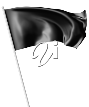 Black flag on flagpole flying and waving in the wind isolated on white, 3d illustration