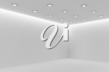 Abstract architecture white room interior - corner of empty white room with white wall, white floor, white ceiling with small round ceiling lamps and hidden ceiling lights and empty space, 3d illustration