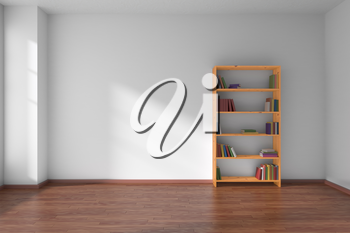 Empty room with white wall, dark wooden parquet floor and wooden bookshelf with many color books on shelves with light from window on white wall and parquet floor, minimalist interior 3D illustration