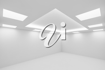 Abstract architecture white room interior - empty white room with white wall, white floor, white ceiling with square ceiling lamps and hidden ceiling lights wide view from corner 3d illustration