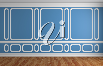 Blue wall with white decorative moldings elements on wall in classic style empty room with wooden parquet floor and white baseboard, classic style architectural background 3d illustration interior