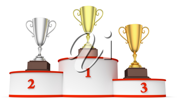 Sports winning and championship and competition success concept - golden, silver and bronze winners trophy cups on round sports pedestal, white winners podium with red stairs closeup, 3d illustration
