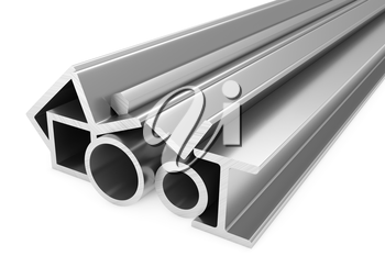 Metallurgical industry products - group of stainless rolled steel products (pipes, profiles, girders, bars, balks and armature) on white, industrial 3D illustration
