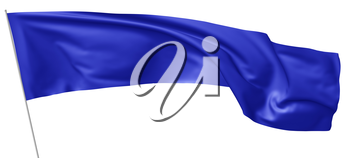Long blue flag on flagpole flying and waving in wind isolated on white 3d illustration.
