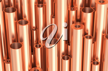 Metallurgical industry production and non-ferrous industrial products abstract illustration - many different various sized stainless metal shiny copper pipes, industrial background 3D illustration