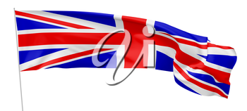 National flag of United Kingdom of Great Britain on flagpole flying and waving in the wind isolated on white, long flag, 3d illustration