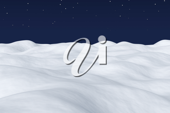 White snow field with hills and smooth snow surface under bright clear winter night north sky with bright stars arctic winter minimalist landscape background 3d illustration.