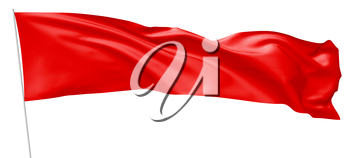 Long red flag on flagpole flying and waving in the wind isolated on white, 3d illustration.