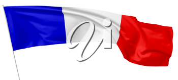 Long national flag of French Republic (France) with flagpole flying in the wind and waving isolated on white background 3d illustration