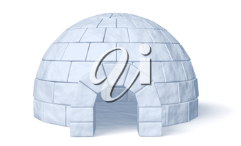 Igloo icehouse isolated on white background front view three-dimensional illustration