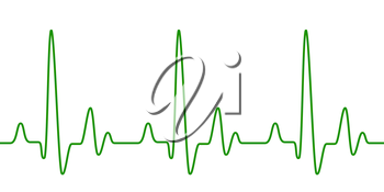 Green heart pulse graphic line on white. Healthcare medical sign with heart cardiogram. Cardiology concept pulse rate diagram illustration
